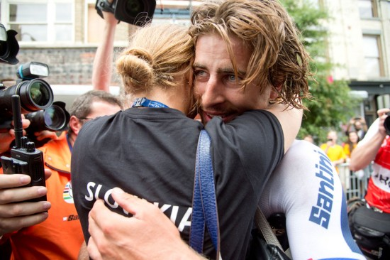Peter Sagan embraced his girlfriend just past the finish line after his big win. Photo: Casey B. Gibson | www.cbgphoto.com