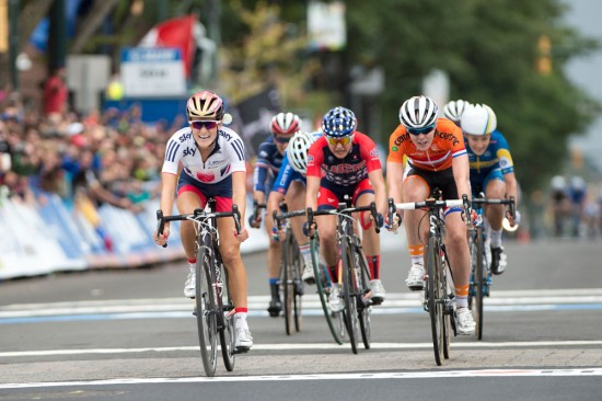 Lizzie Armistead wins the women's road race in a close sprint with Anna Van Der Breggen and Megan Guarnier. Photo: Casey B. Gibson | www.cbgphoto.com