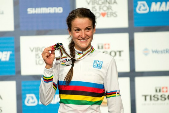 Lizzie Armistead showed off her new gold medal and rainbow jersey. Photo: Casey B. Gibson | www.cbgphoto.com