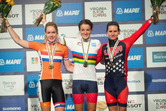 The women's podium of Lizzie Armistead, Anna Van Der Breggen and Megan Gaurnier. Photo: Casey B. Gibson | www.cbgphoto.com