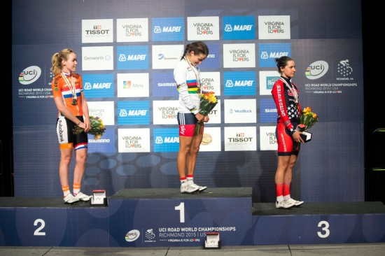 Lizzie Armistead bowed her head on the podium as the British anthem played. Photo: Casey B. Gibson | www.cbgphoto.com