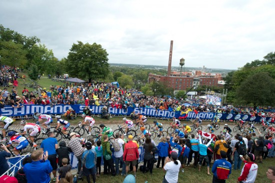 Fans cheered on the riders as they summited the Libby Hill climb. Photo: Casey B. Gibson | www.cbgphoto.com