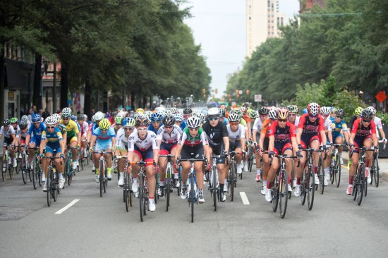 Riding together for the first four laps, the women's peloton filled up Broad Street. Photo: Casey B. Gibson | www.cbgphoto.com