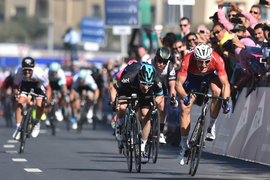Cycling: 3th Dubai Tour 2016 / Stage 4 Arrival Sprint / KITTEL Marcel (GER) Red Sprint Jersey / VIVIANI Elia (ITA)/ CAVENDISH Mark (GBR)/ Dubai - Dubai (137Km)/ Business Bay Stage / Etape Rit Ronde/(c) Tim De Waele