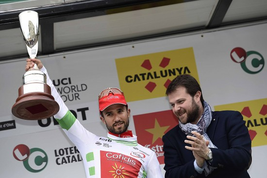 Cycling: 96th Volta a Catalunya/ Stage 2 Podium/ BOUHANNI Nacer (FRA) White Leader Jersey/ Celebration Joie Vreugde/ Mataro-Olot (178,7Km)/ Tour of Catalunya/ Ronde Etape Rit/ Valencia/ (c) Tim De Waele