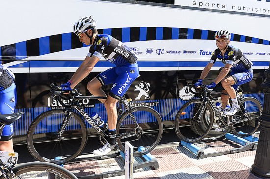 Etixx Quick-Step riders Carlos Verona and Julian Alaphilippe warmed up on the rollers before the stage. Photo: Tim De Waele | TDWsport.com