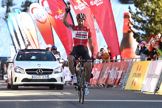 Thomas De Gendt paced himself to a win, catching Peter Weening with 1.5 kilometers to go on the final climb of the day. Photo: Tim De Waele   TDWsport.com