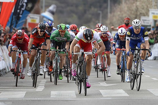 Cycling: 96th Volta a Catalunya/ Stage 2 Arrival Sprint/ BOUHANNI Nacer (FRA)/ MEERSMAN Gianni (BEL)/ GILBERT Philippe (BEL)/ Mataro-Olot (178,7Km)/ Tour of Catalunya/ Ronde Etape Rit/ Valencia/ (c) Tim De Waele