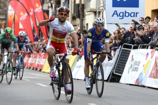 Cycling: 96th Volta a Catalunya/ Stage 2 Arrival/ BOUHANNI Nacer (FRA)/ MEERSMAN Gianni (BEL)/ Mataro-Olot (178,7Km)/ Tour of Catalunya/ Ronde Etape Rit/ Valencia/ (c) Tim De Waele